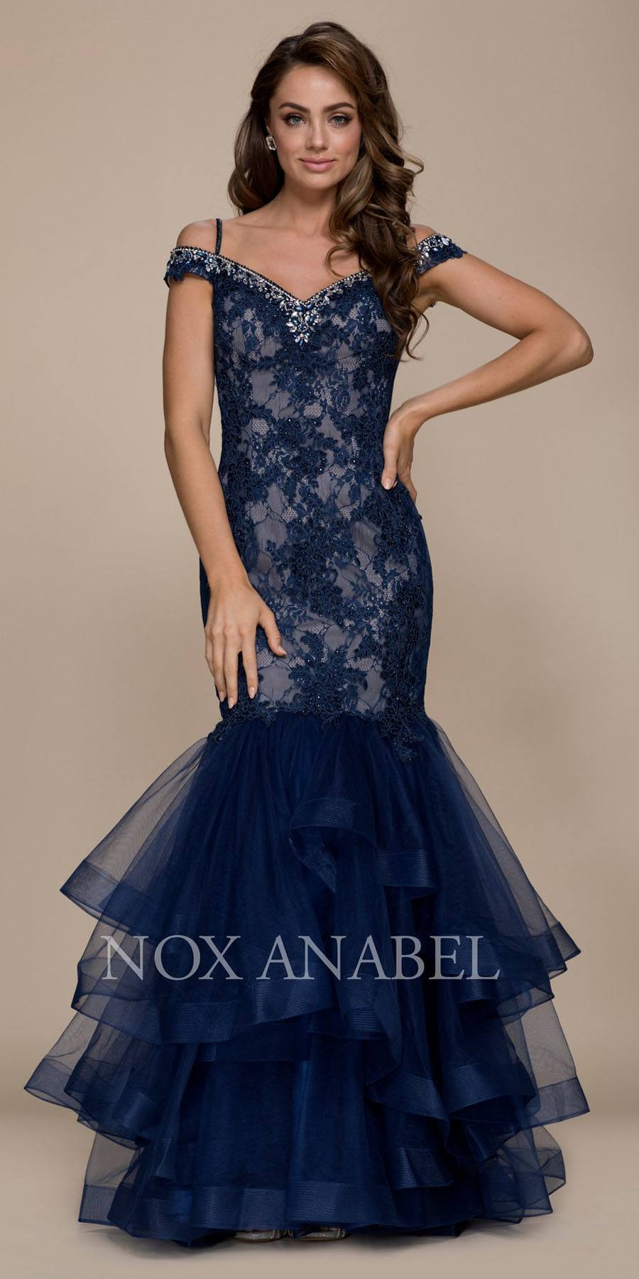6f1a78dca0 Cold Shoulder Tiered Mermaid Long Prom Dress Navy Blue. Tap to expand