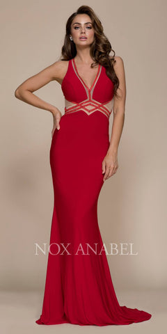 Red V-Neck Floor LengthProm Dress with Sheer Cut Outs