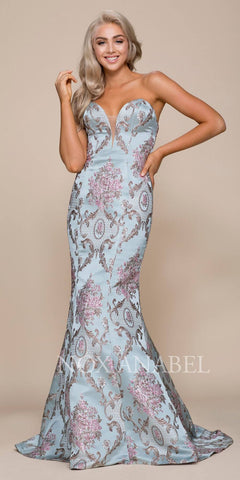 Printed Mermaid Prom Gown Strapless Sweetheart Neckline