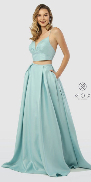 Two-Piece Long Prom Dress Criss-Cross Back Arctic Blue