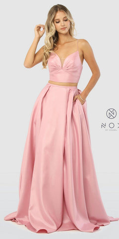 Two-Piece Long Prom Dress Criss-Cross Back Mauve