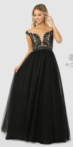 ON SPECIAL LIMITED STOCK - Poly USA 7316 ITY Stretch Long Prom Dress Black Lace Neckline