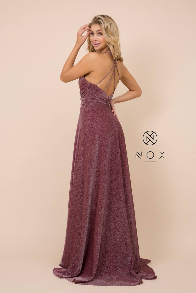 Nox Anabel E184 Long Burgundy Metallic Formal Dress Halter With Slit