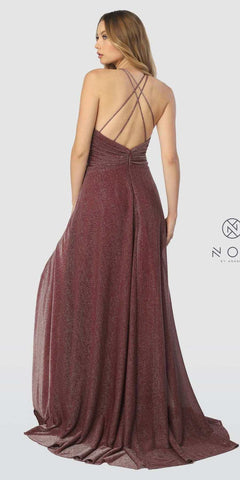 Burgundy Metallic Halter Long Prom Dress with Slit