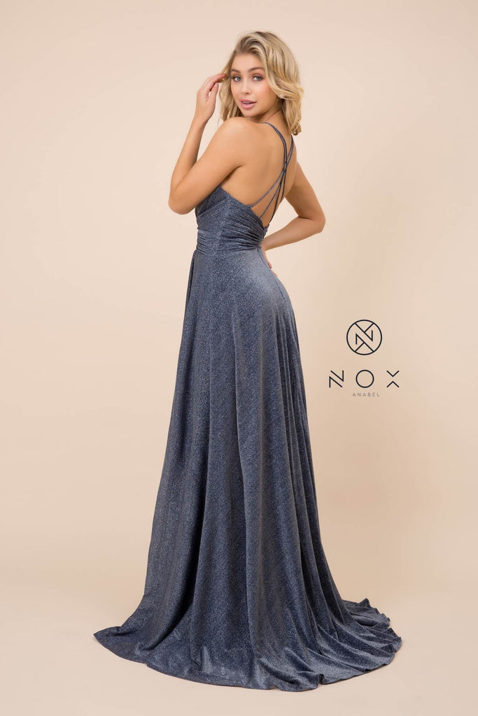 Nox Anabel E184 Long Navy Blue Metallic Formal Dress Halter With Slit