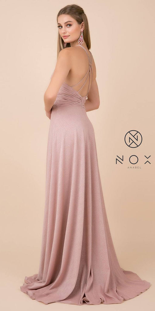 Nox Anabel E184 Rose Gold Metallic Halter Long Prom Dress with Slit