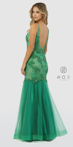 Green Mermaid Style Embellished Bodice Long Prom Dress