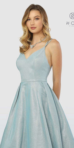 V-Neck Glitter Metallic Prom Ball Gown Blue