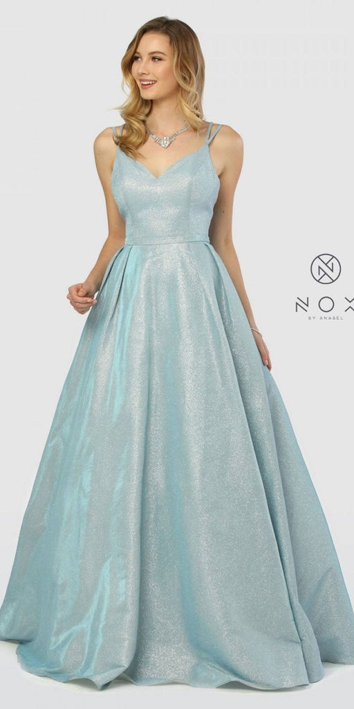 Nox Anabel E228 V-Neck Glitter Metallic Prom Ball Gown Blue