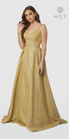 Gold V-Neck Sequins Mermaid Prom Gown Strappy Back