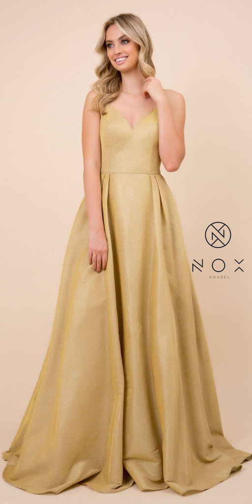 Nox Anabel E228 Long Gold A-Line Metallic Glitter Dress Spaghetti Strap