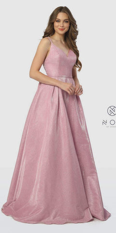 V-Neck Glitter Metallic Prom Ball Gown Hot Pink