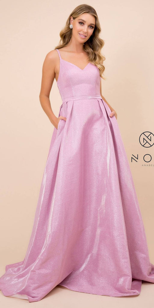 Nox Anabel E228 V-Neck Glitter Metallic Prom Ball Gown Hot Pink