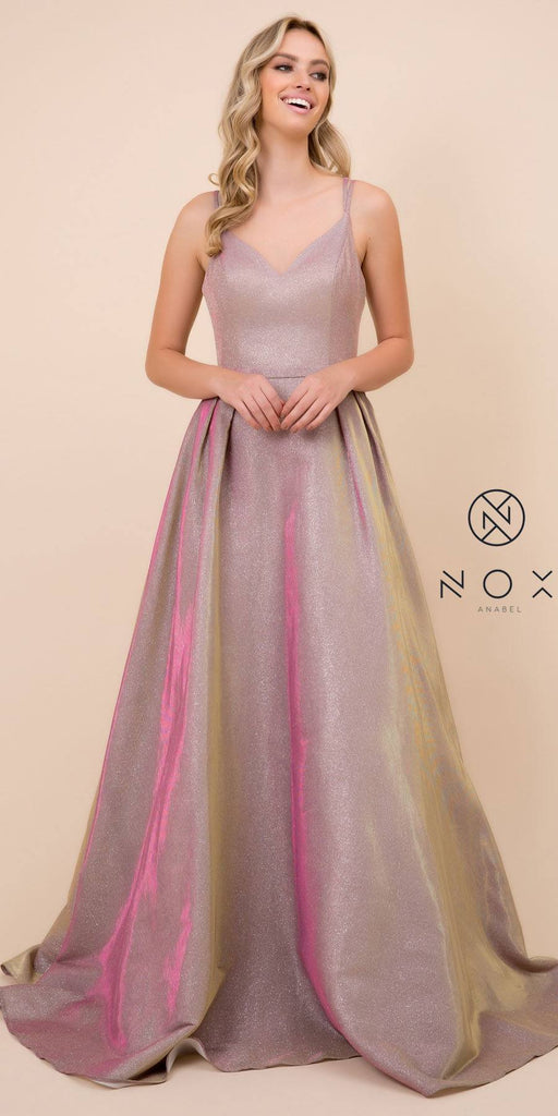 Nox Anabel E228 Long Rose Gold A-Line Metallic Glitter Dress Spaghetti Strap