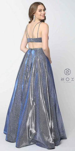 Navy Blue Prom Ball Gown with Cut-Outs and Pockets