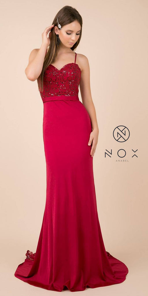 Burgundy Long Prom Dress with Mesh Appliqued Train