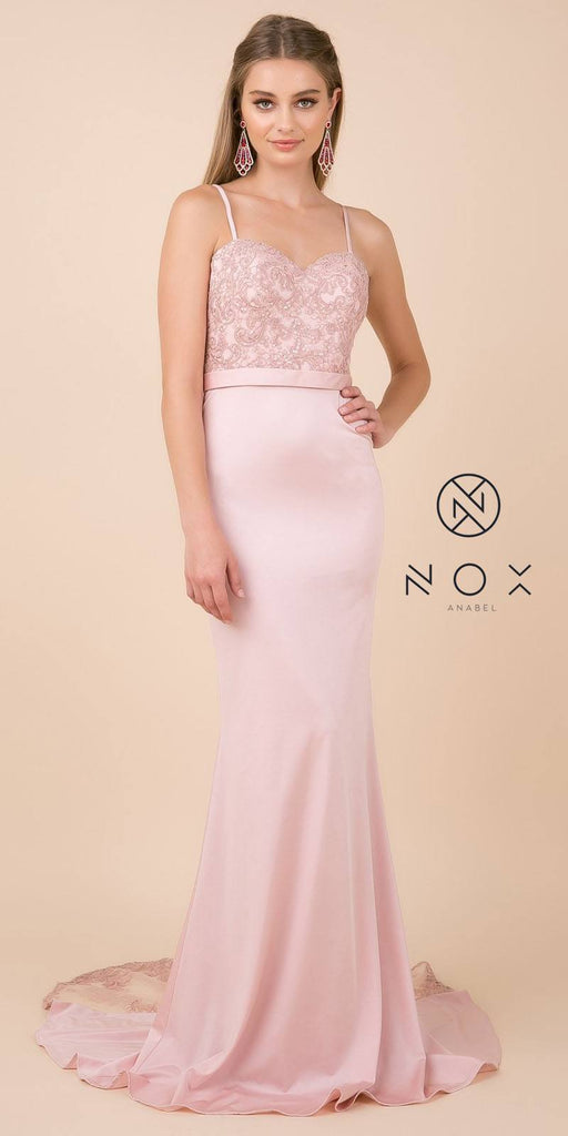 Rose Long Prom Dress with Mesh Appliqued Train