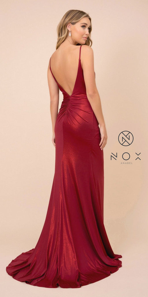 Metallic Floor-Length Prom Dress with Slit Dark Red