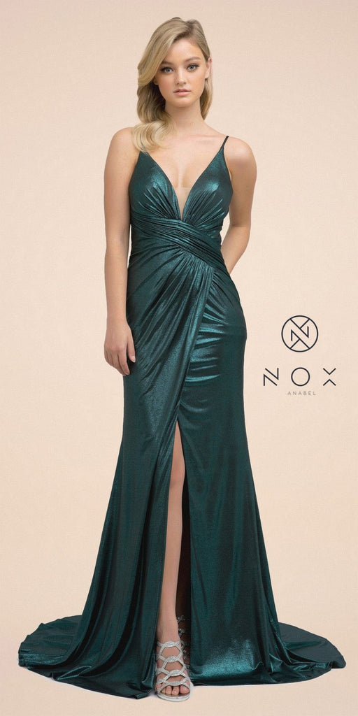 Metallic Floor-Length Prom Dress with Slit Green