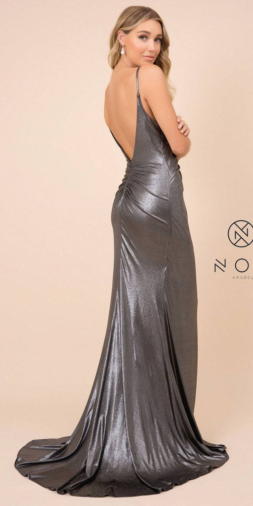Metallic Floor-Length Prom Dress with Slit Gunmetal