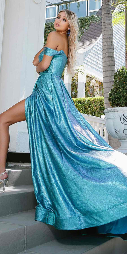 Metallic Blue Off-Shoulder Long Prom Dress with Pockets