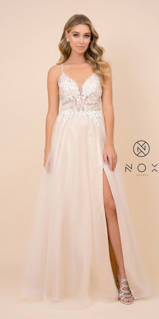 Champagne Long Prom Dress with Appliqued Bodice and Slit