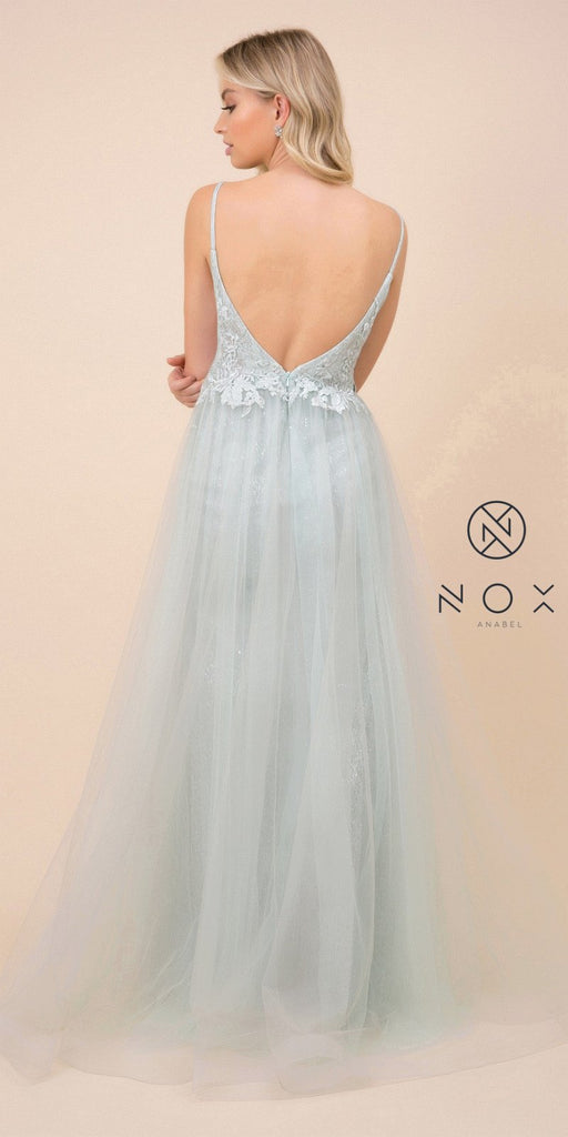 Sage Green Long Prom Dress with Appliqued Bodice and Slit
