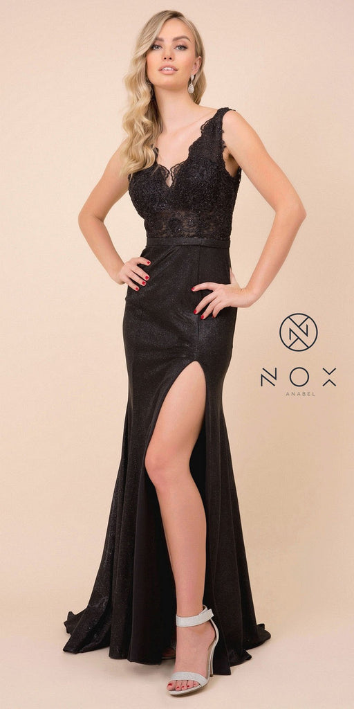 Lace Top Black Fit and Flare Long Prom Dress with Slit