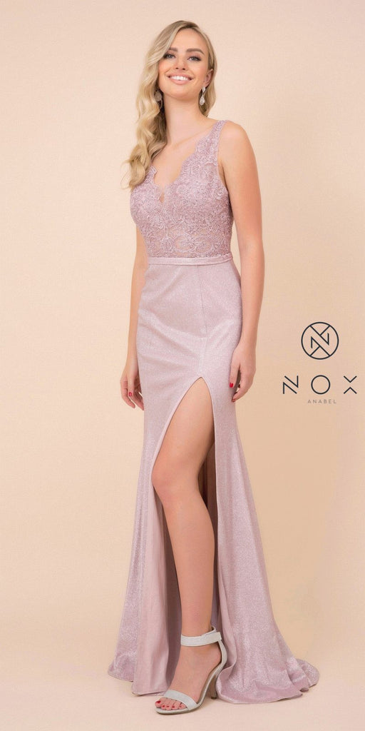 Lace Top Pink Fit and Flare Long Prom Dress with Slit
