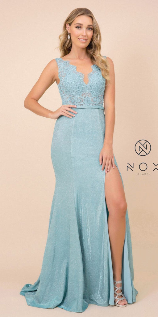 Lace Top Turquoise Fit and Flare Long Prom Dress with Slit