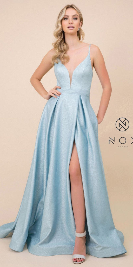 Cut-Out Lace-Up Back Long Prom Dress Blue with Pockets