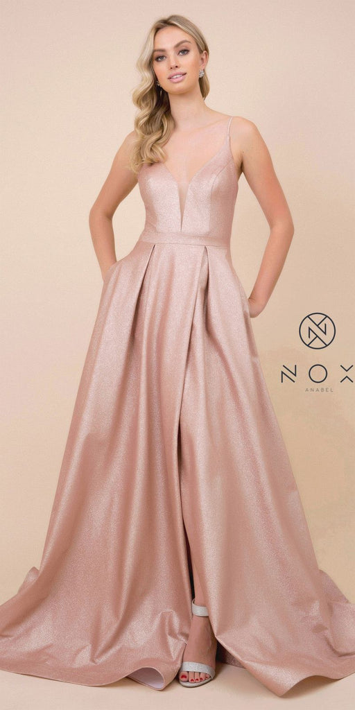 Cut-Out Lace-Up Back Long Prom Dress Rose Gold with Pockets