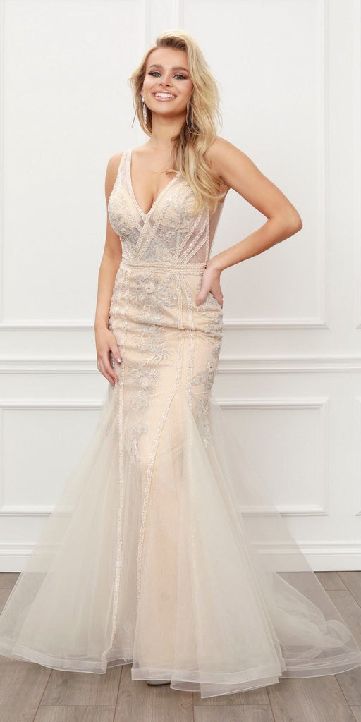 Nox Anabel E431 Sleeveless V-Neck Sequin Embellished Lace Applique Mermaid Gown