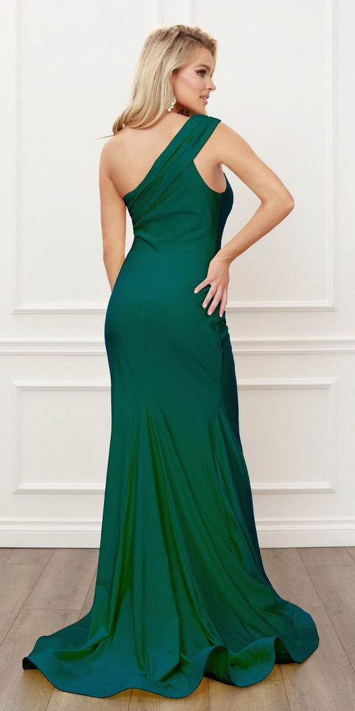 Nox Anabel E440 One Shoulder Ruched Mermaid High Slit Hunter Green Evening Gown
