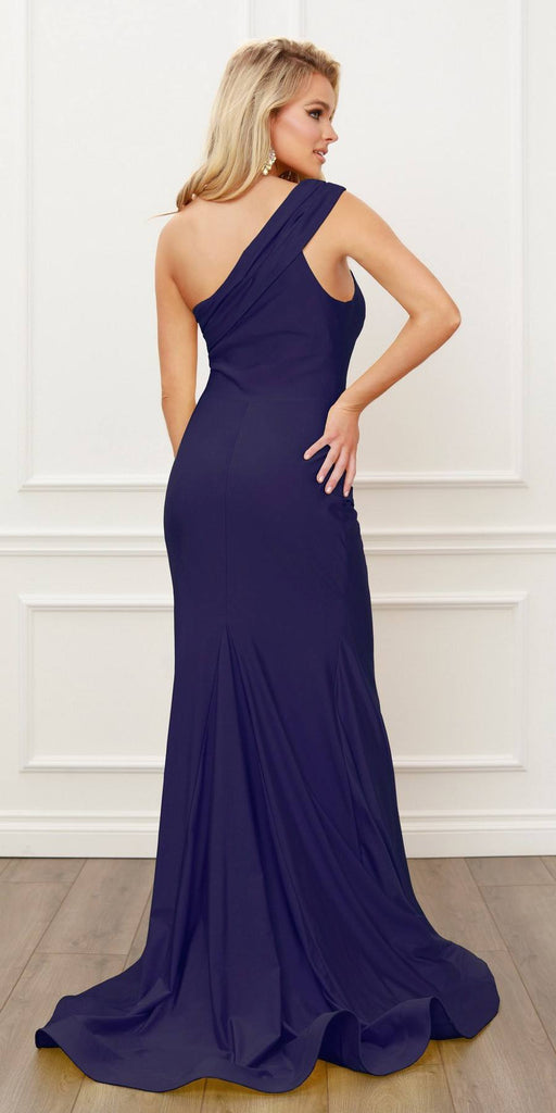 Nox Anabel E440 One Shoulder Ruched Mermaid High Slit Navy Blue Evening Gown