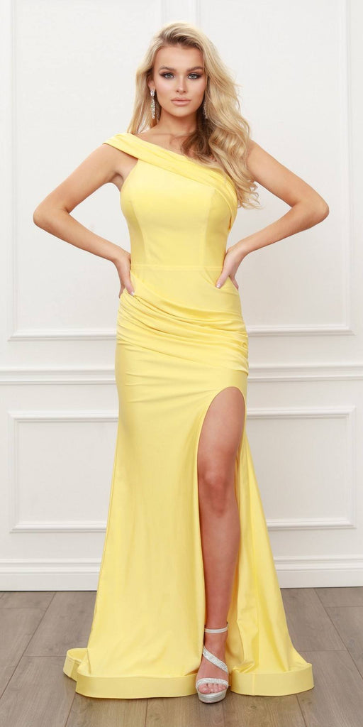 Nox Anabel E440 One Shoulder Ruched Mermaid High Slit Yellow Evening Gown
