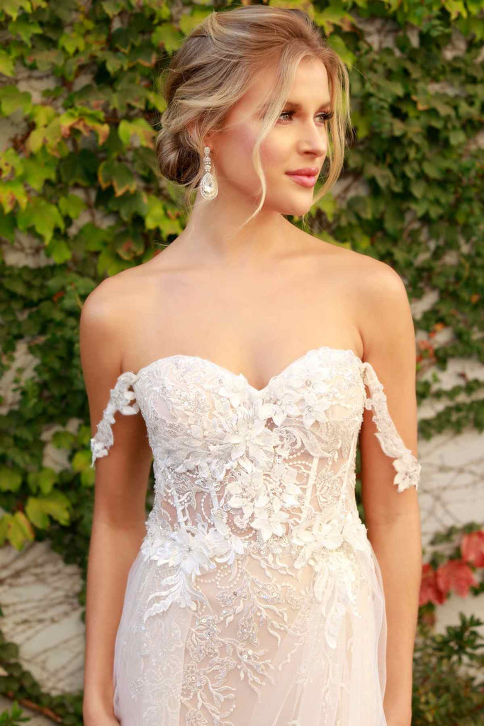 Nox Anabel E441 Off The Shoulder Boho Tulle Layered A-Line Wedding Gown