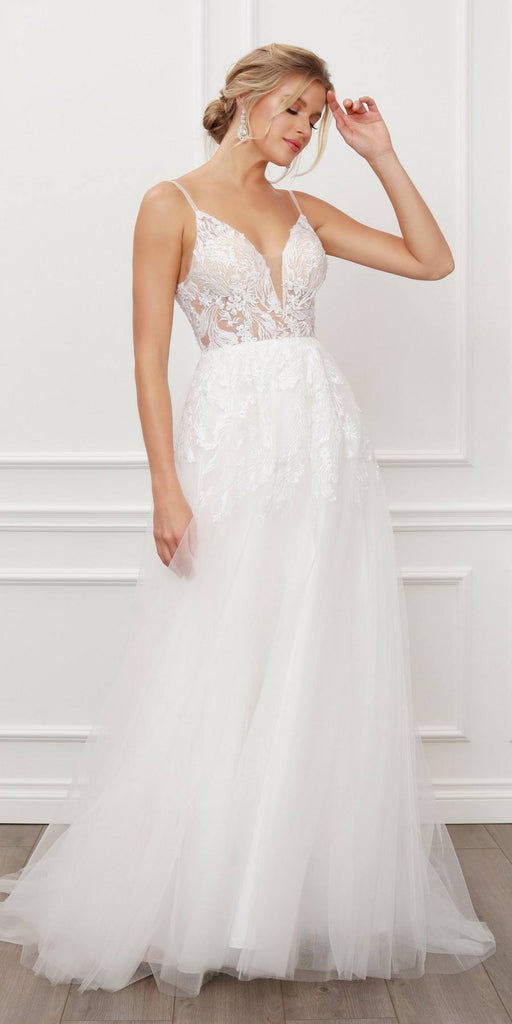 Nox Anabel E442 Classic Long A-Line V-Neck Sparkle Lace Top White Gown