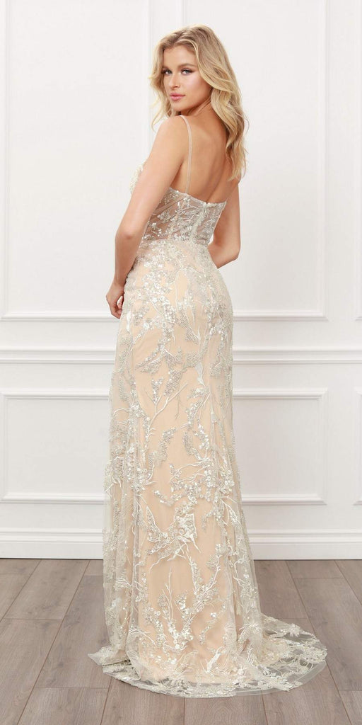 Nox Anabel E459 Long Gala Party Sequin Lace Applique Champagne Mermaid Gown