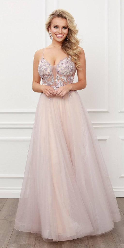 Nox Anabel E460 Long Spaghetti Strap A-Line Dusty Blush Ball Gown Floral Bodice