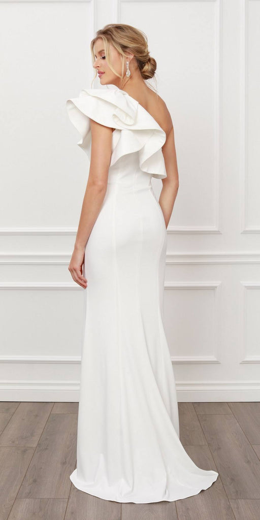 Nox Anabel E467 Long Sheath White One Shoulder Ruffle Overlay Strap Gown