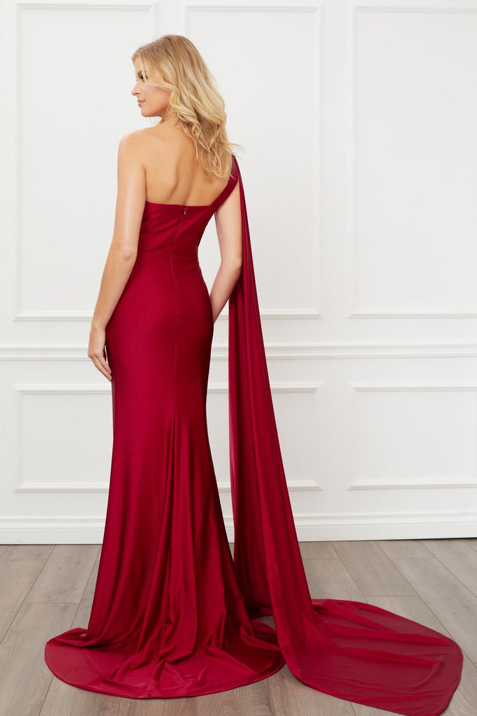 Nox Anabel E475 Long One Shoulder Drape Sleeve Sheath Burgundy Gown