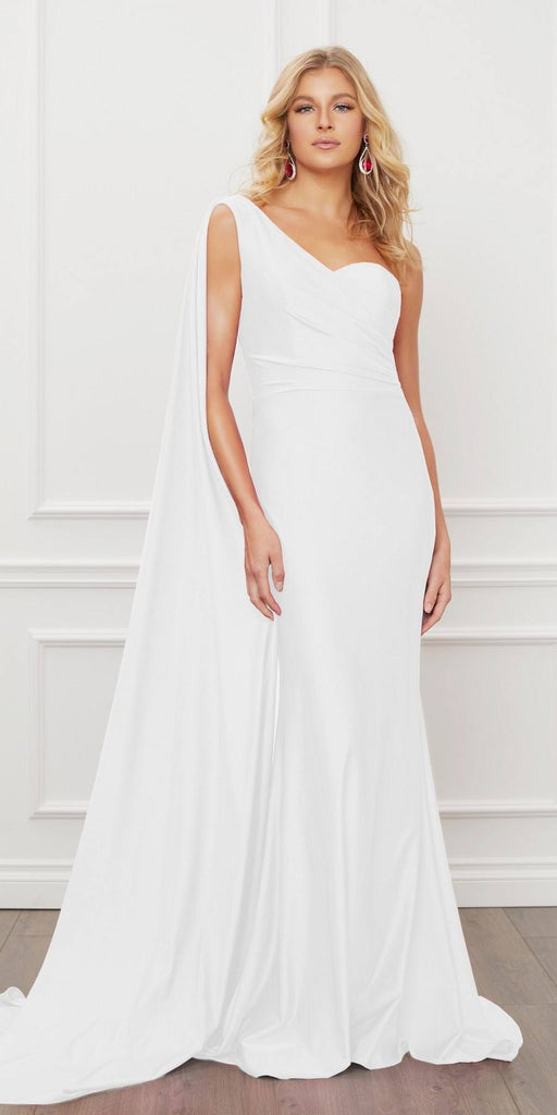 Nox Anabel E475 Long One Shoulder Drape Sleeve Sheath White Gown