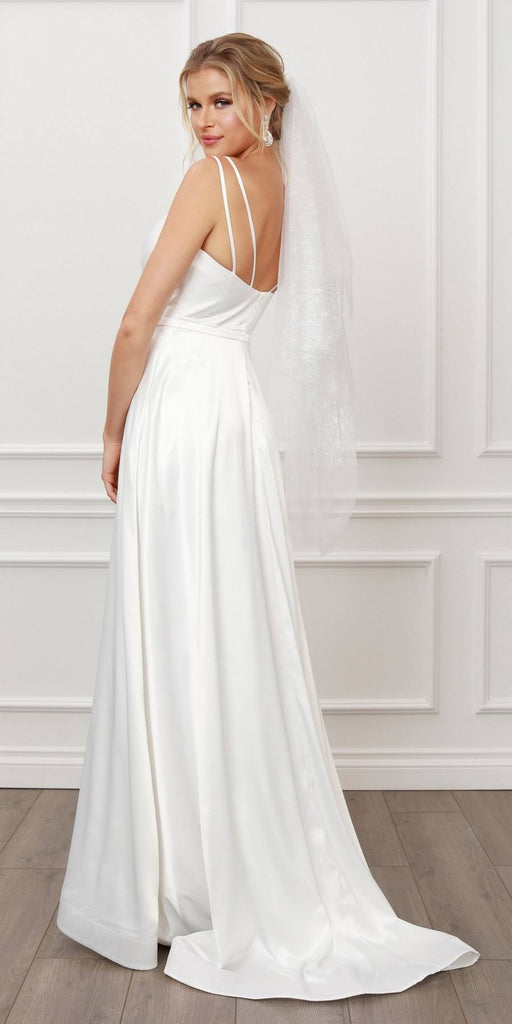 Nox Anabel E484 Elegant Cross V-Neck Double Straps White A-Line Gown Leg Slit