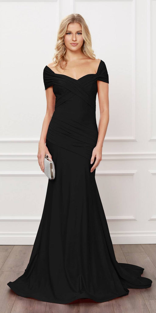 Nox Anabel E497 Pleated Sweetheart Neckline Off Shoulders Black Mermaid Gown