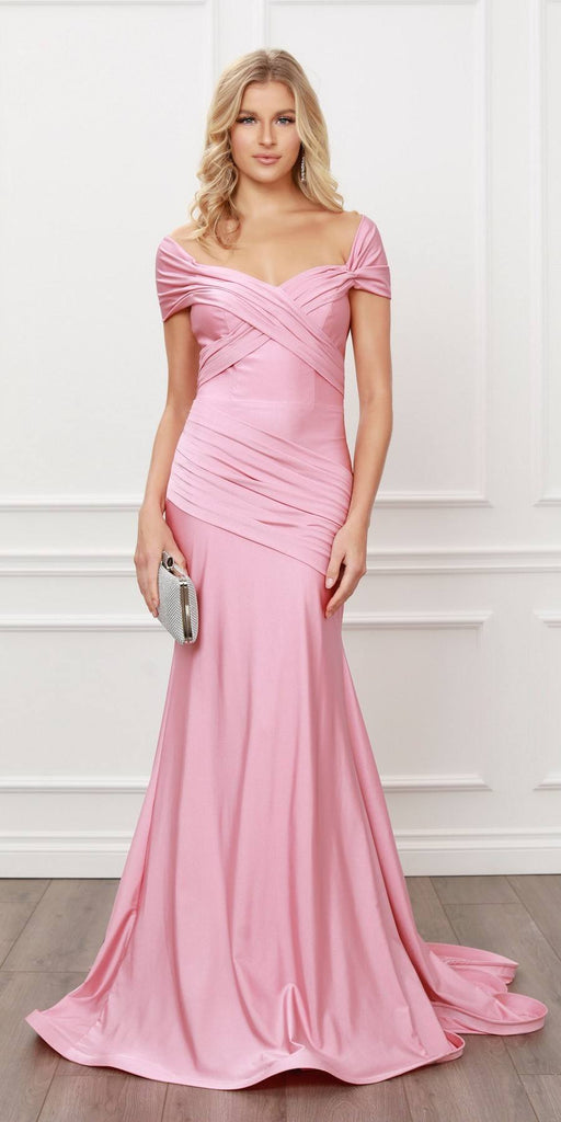 Nox Anabel E497 Pleated Sweetheart Neckline Off Shoulders Mauve Mermaid Gown
