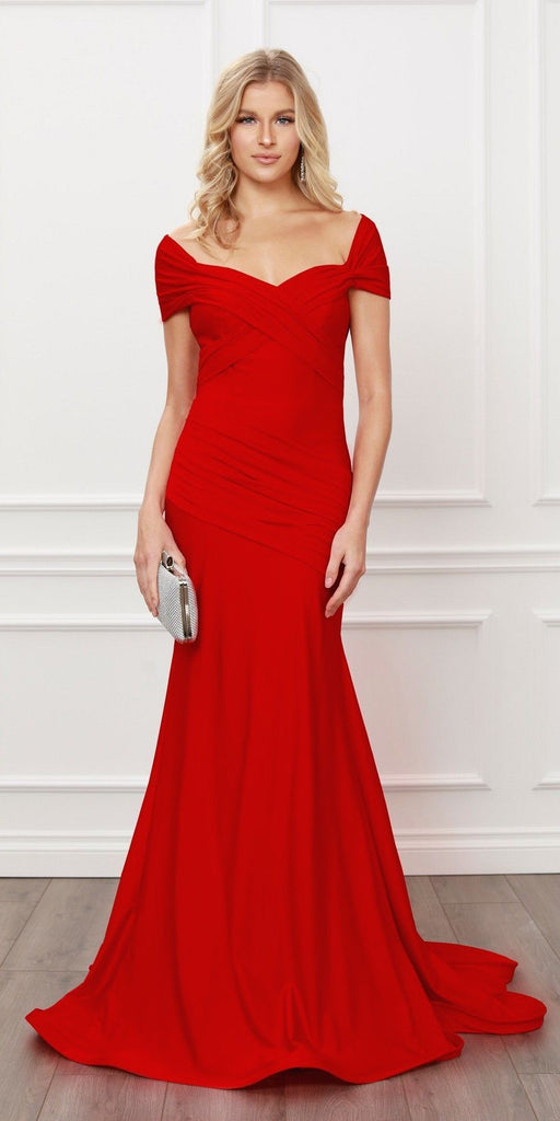 Nox Anabel E497 Pleated Sweetheart Neckline Off Shoulders Red Mermaid Gown