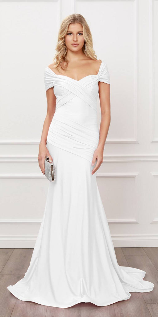 Nox Anabel E497 Pleated Sweetheart Neckline Off Shoulders White Mermaid Gown