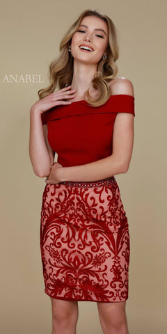Short 2 Piece Homecoming Dress Burgundy Off the Shoulder