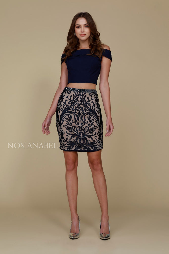 Short 2 Piece Homecoming Dress Navy Blue Off the Shoulder